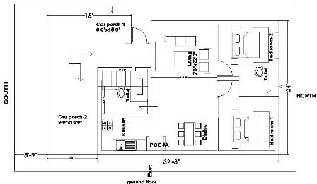 25x35 house plan ground floor 216