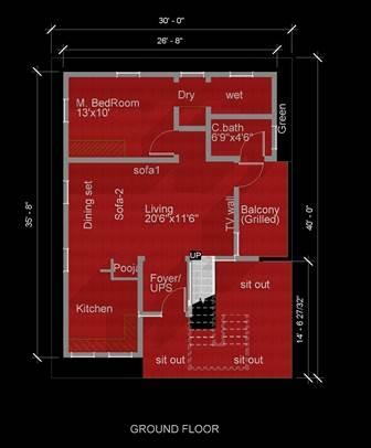 30X40 EAST DUPLEX modern floor plan