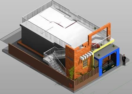3d Design basic elevation 20x40 plot house design
