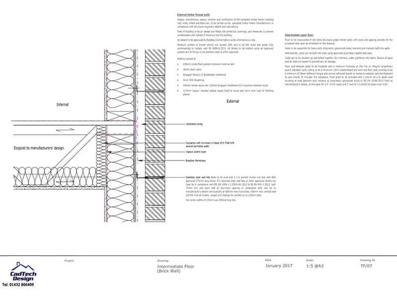 Intermediate Floor With Brick Wall Detail Drawing PDF