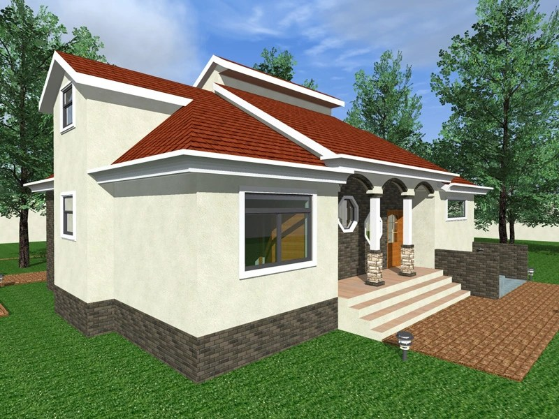 three bedroom bungalow with attic floor design