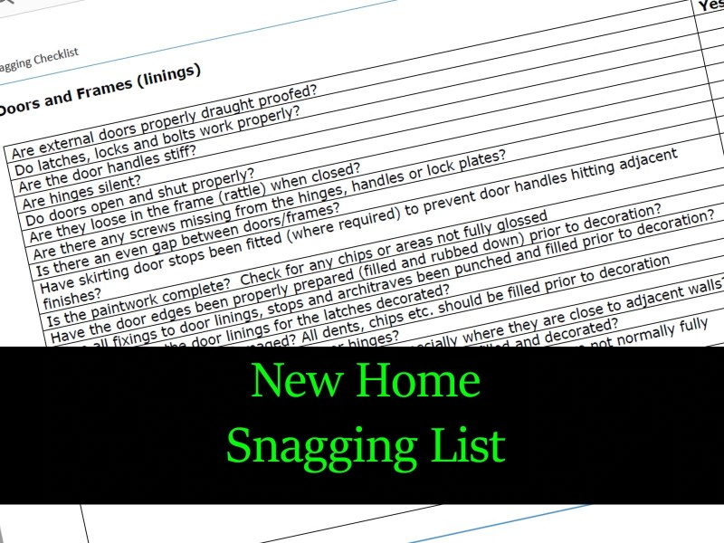 new home snagging list