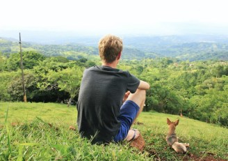 Luke and Ridge the dog in the Costa Rican mountains