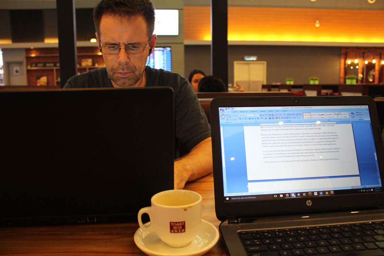 Working at departures - Kuala Lumpur Airport