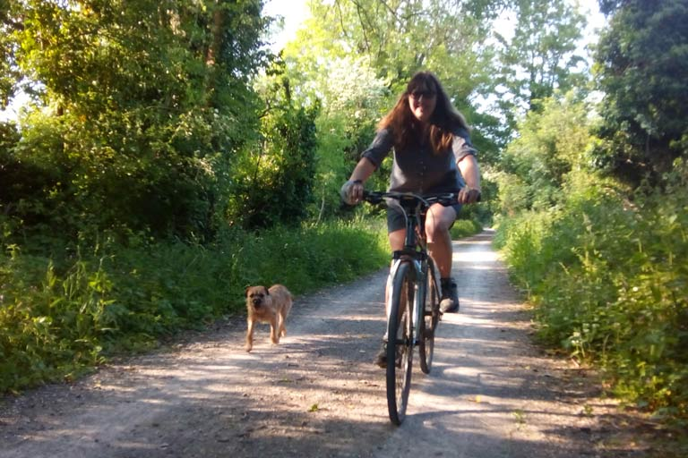 Vanessa and Hamish on the old railway line