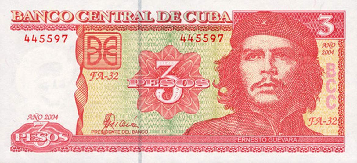 3 CUP note - Cuban national pesos