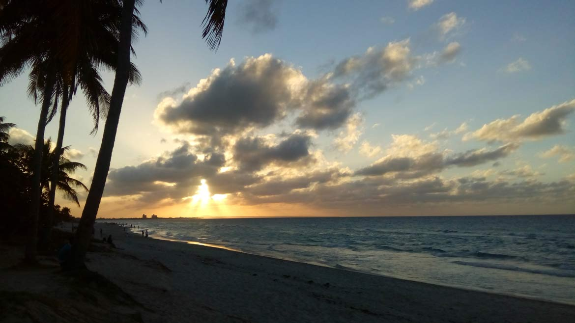 Sunset over the beach at Varadero