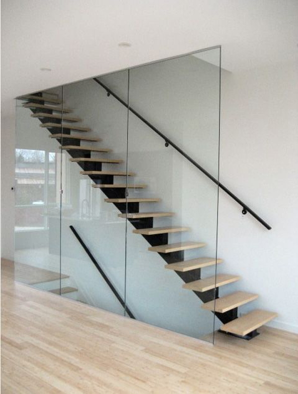 14 Glass Stair Railing Ideas For Your Home Housessive | Glass Staircase Panels Near Me | Modern Staircase Railing | Tempered Glass | Wood | Stair Balustrade | Stair Case