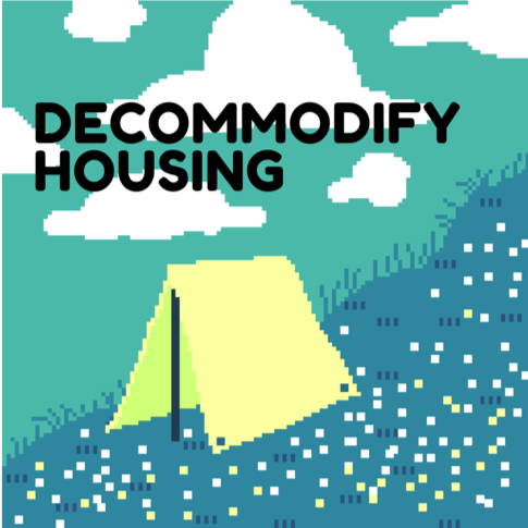 Text in the foreground with pixel style image of a tent in a meadow