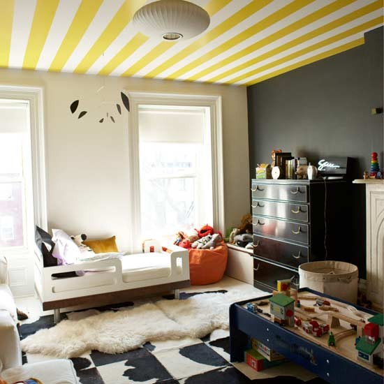 Child's bedroom with stripy ceiling | Children's rooms | Design ideas | Image | Housetohome.co.uk