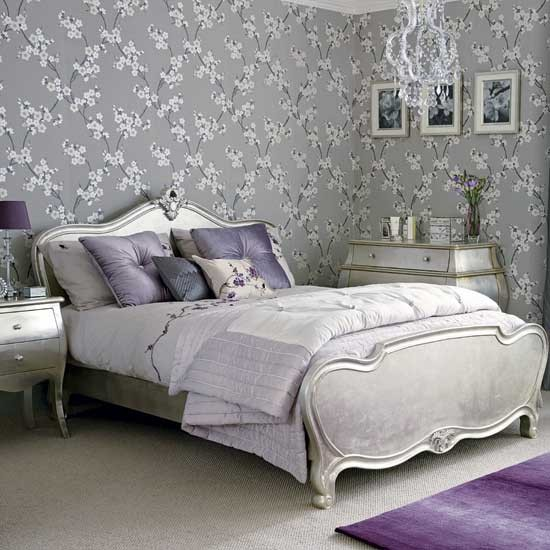 Silver and plum bedroom hotel style | Bedroom ideas | PHOTO GALLERY | Ideal Home