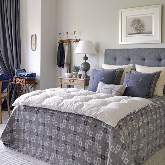 Relaxed country bedroom   Bedroom decorating idea   Upholstered headboard   Image   Housetohome