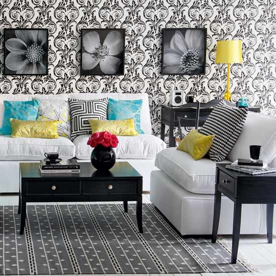 Classic monochrome living room | Decorating with colour | Ideal Home