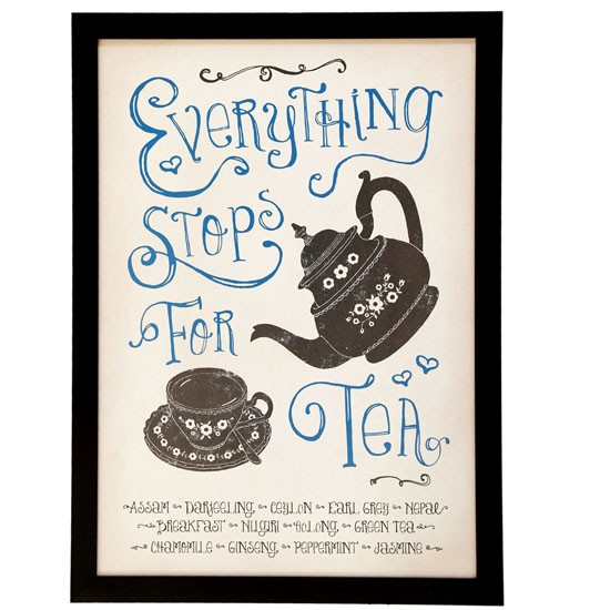 Classic Retro Everything Stops For Tea framed print from The Contemporary Home | Diamond Jubilee home accessories | Home accessories | PHOTO GALLERY | 25 Beautiful Homes | Housetohome