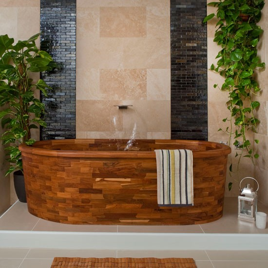 Spa-style wood bathroom