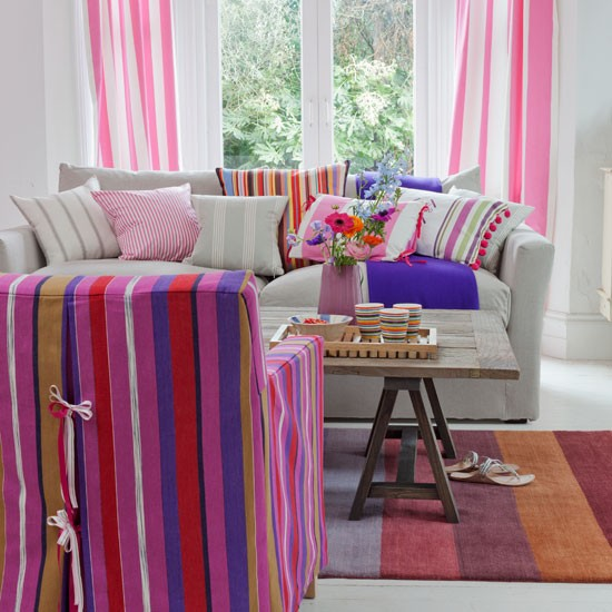 Candy striped living room | Country decorating ideas | Country Homes & Interiors | Housetohome