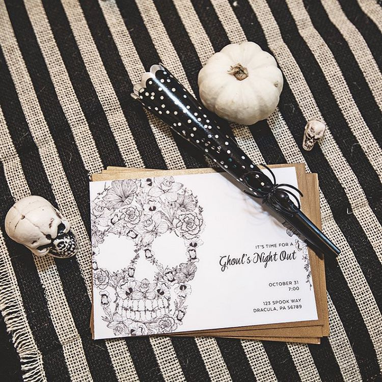 "Isn't this invitation darling? It was made by @confettisunshine for the ""ghouls night out"" I did with some of my favorite bloggers. More details and photos coming soon to the blog! @armelle_blog @gentrilee @sandyalamode : @dianaputnamphotography"