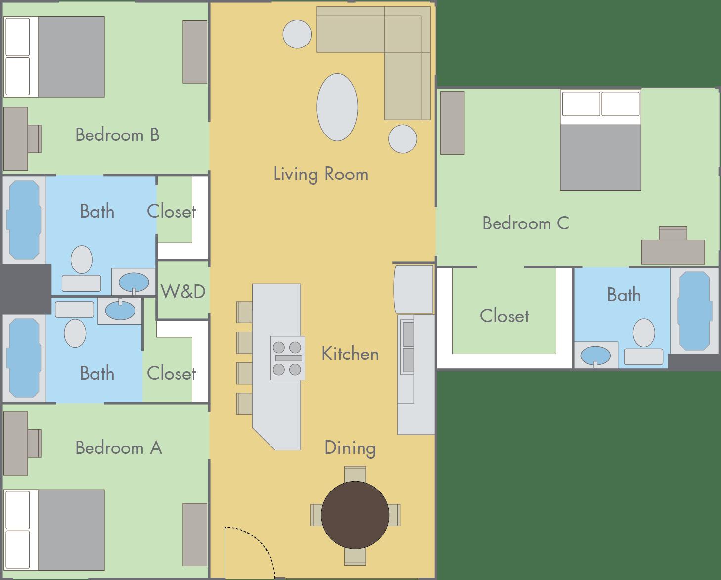 the colleges floor plan - 2 bedroom, 2 bathroom