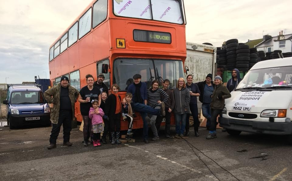 Image of Jim Deans and team with the homeless bus in Brighton