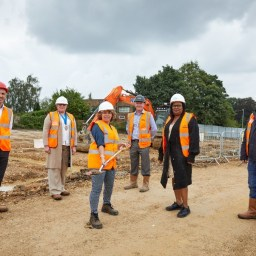 Six people on a construction site in Leeds.