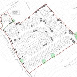 The site plan of Mulbury and Great Places' development at The Organ in Hollingworth.