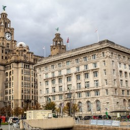 The Royal Liver Building and Cunard Building, Liverpool.