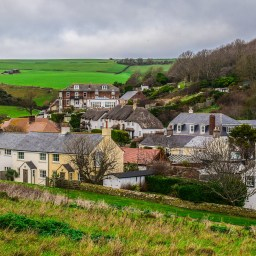 The village of Lulworth Cove in Dorset, England.