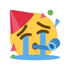 An emoji mash-up of a face with a party hat, party blower and confetti, celebrating while crying.