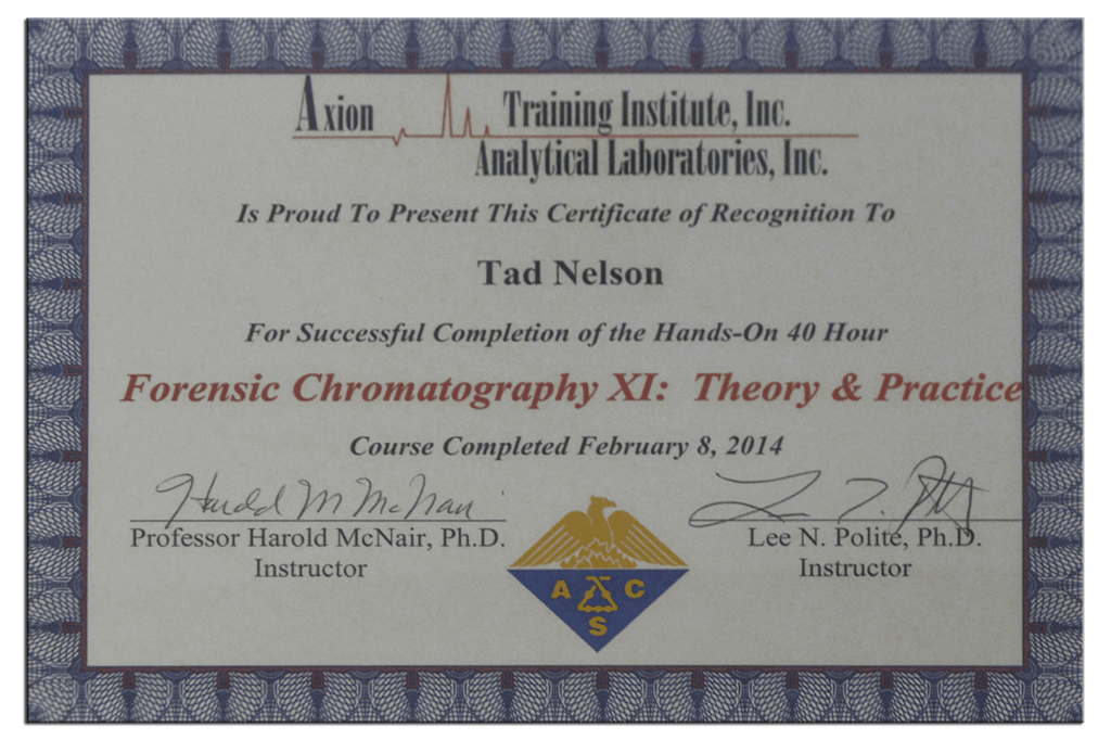 Tad Credentials 04 Forensic Chromatography