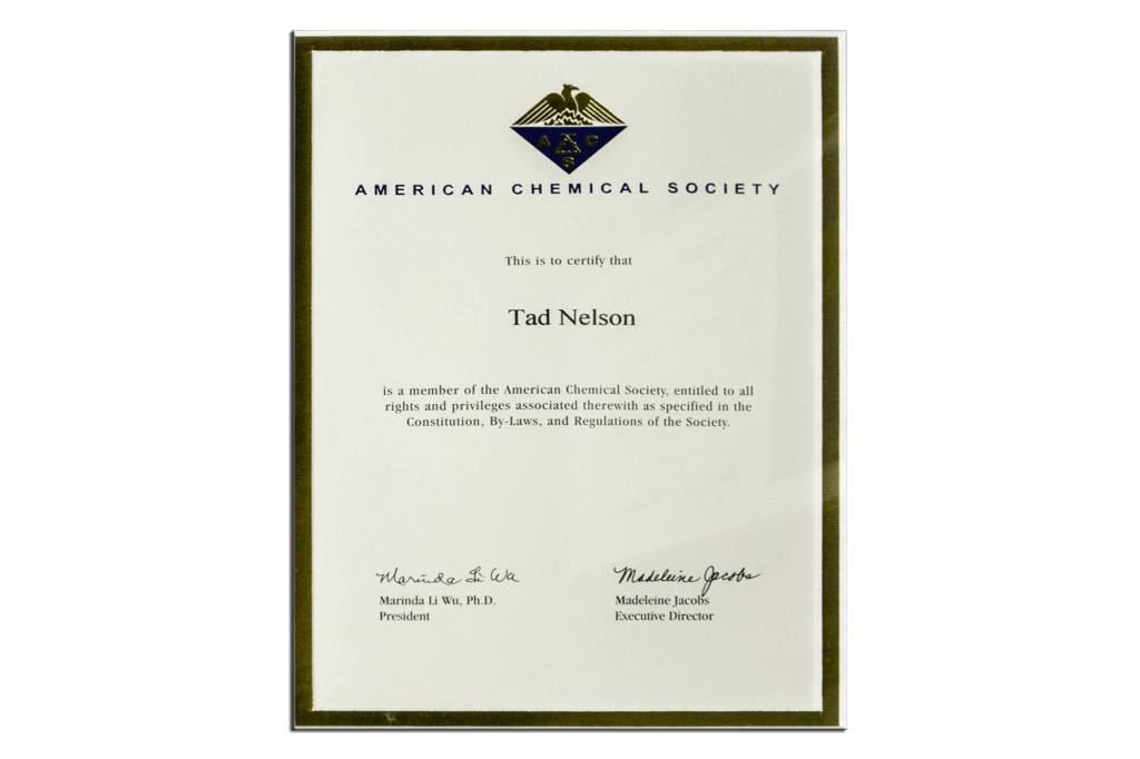 Tad Credentials 10 American Chemical Society