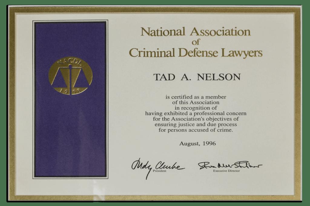 Tad Credentials - 14 - National Association Criminal Defense Lawyers