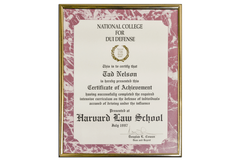 Tad Credentials - 19 - National College for DUI Defense - Harvard Law