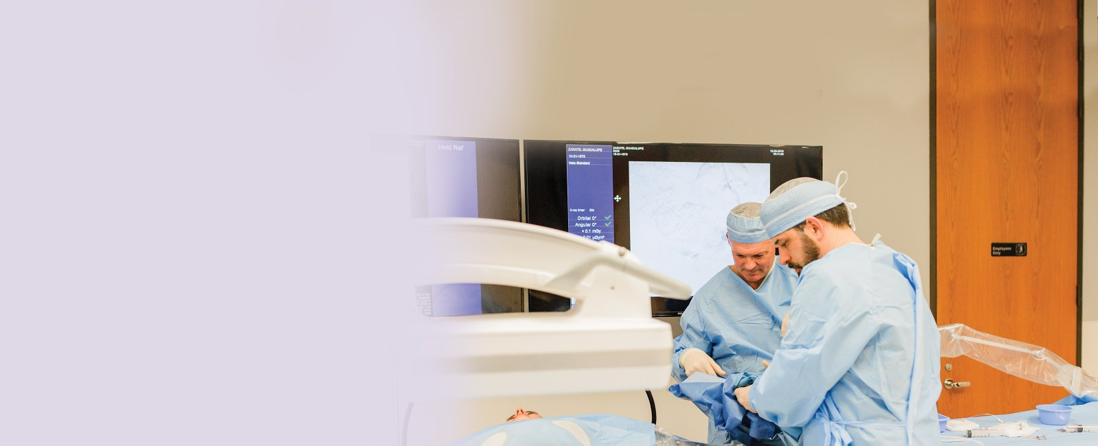 Dr. Hardee and Dr. Fox during UFE procedure