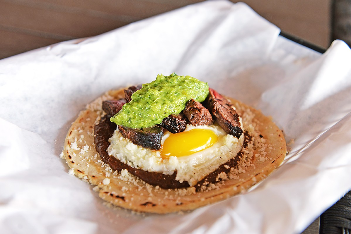 Fusion Taco steak and eggs