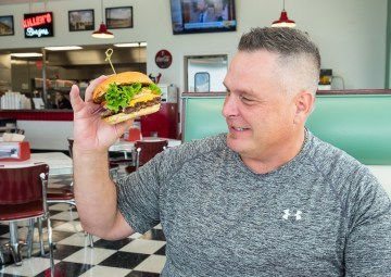 Ronnie Killen faces off with a burger