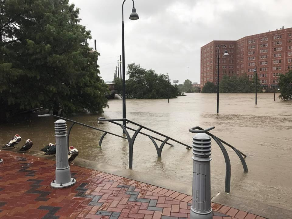downtown flooding near Spaghetti Warehouse
