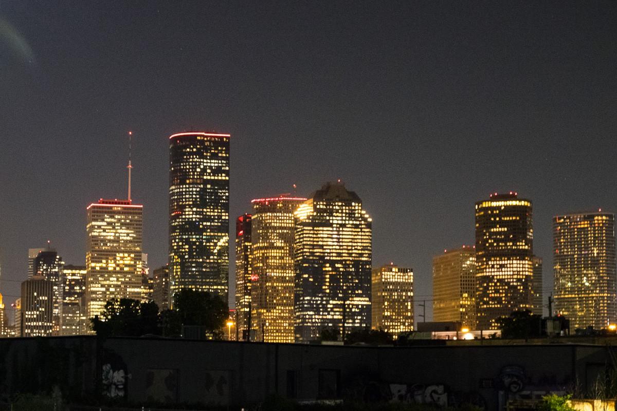 downtown Houston at night from Poitín