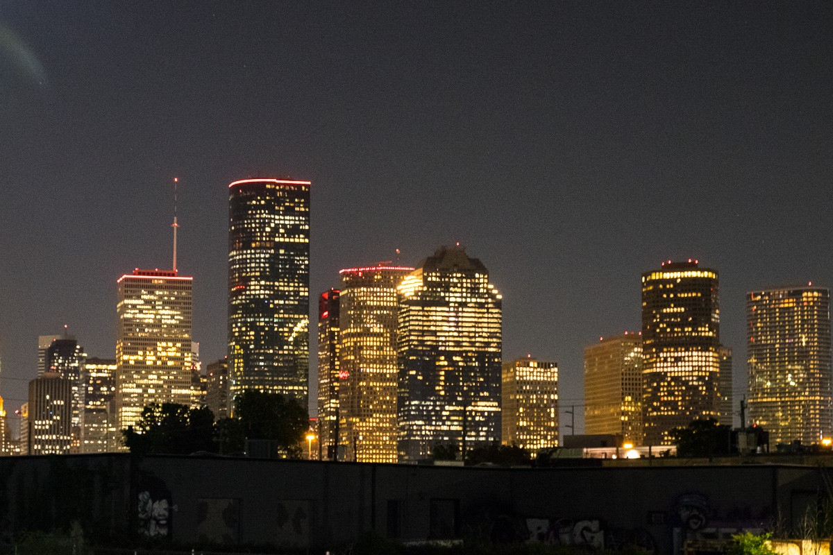 downtown Houston at night from Poitín