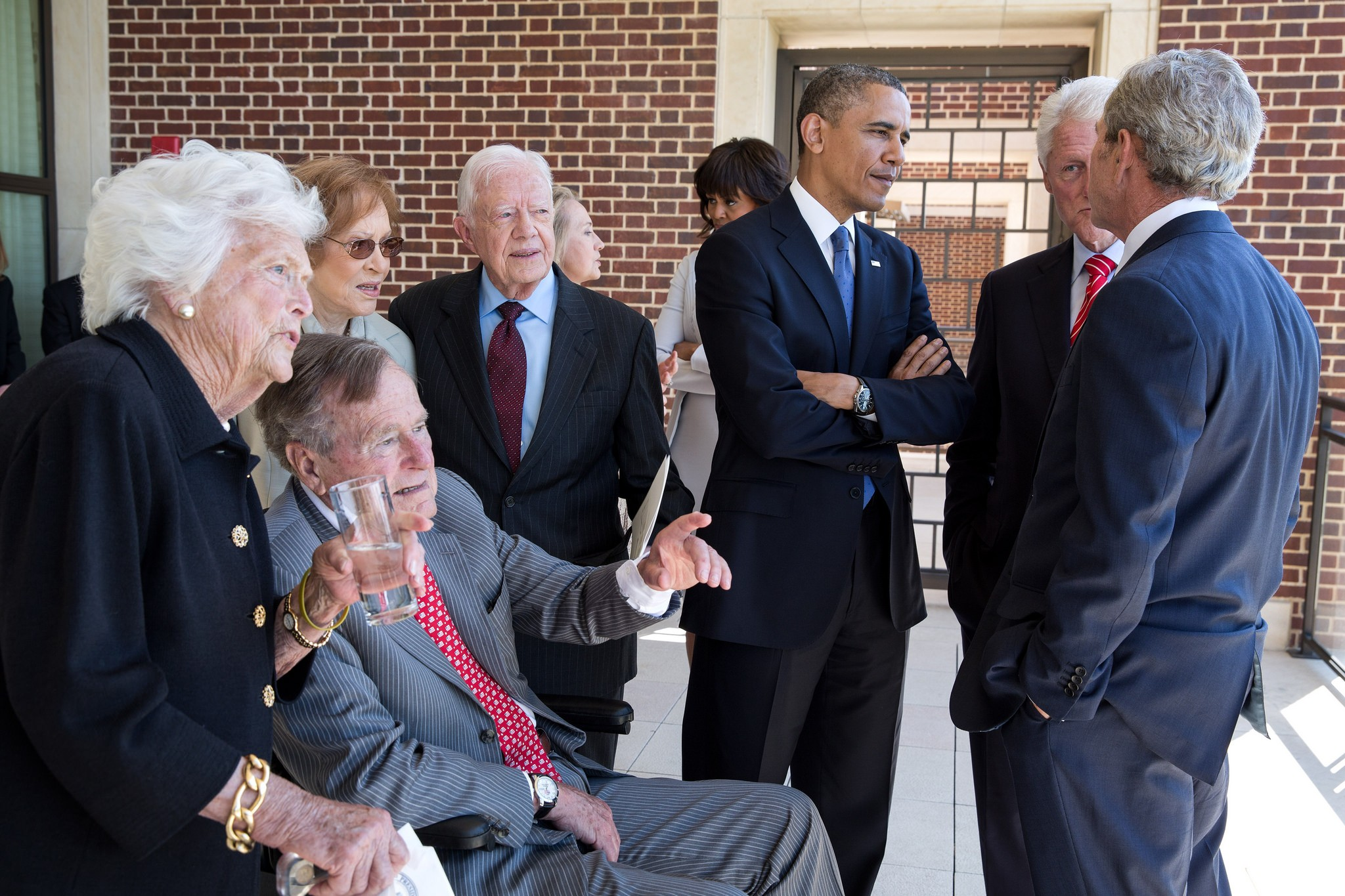 Bushes with other past Presidents and First Ladies at Bush Presidential Library