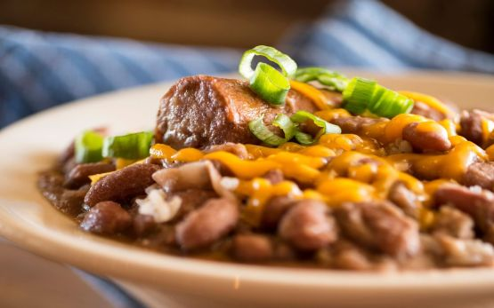 Picture of a bowl of red beans and rice.