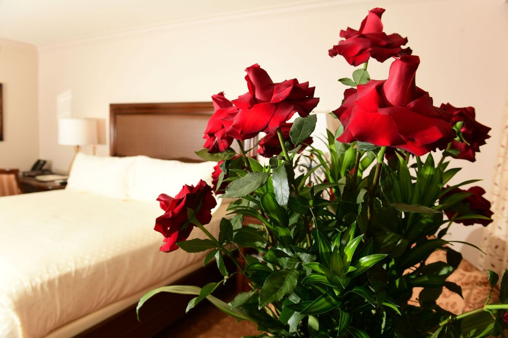 Picture of a hotel room with a dozen roses in the foreground.