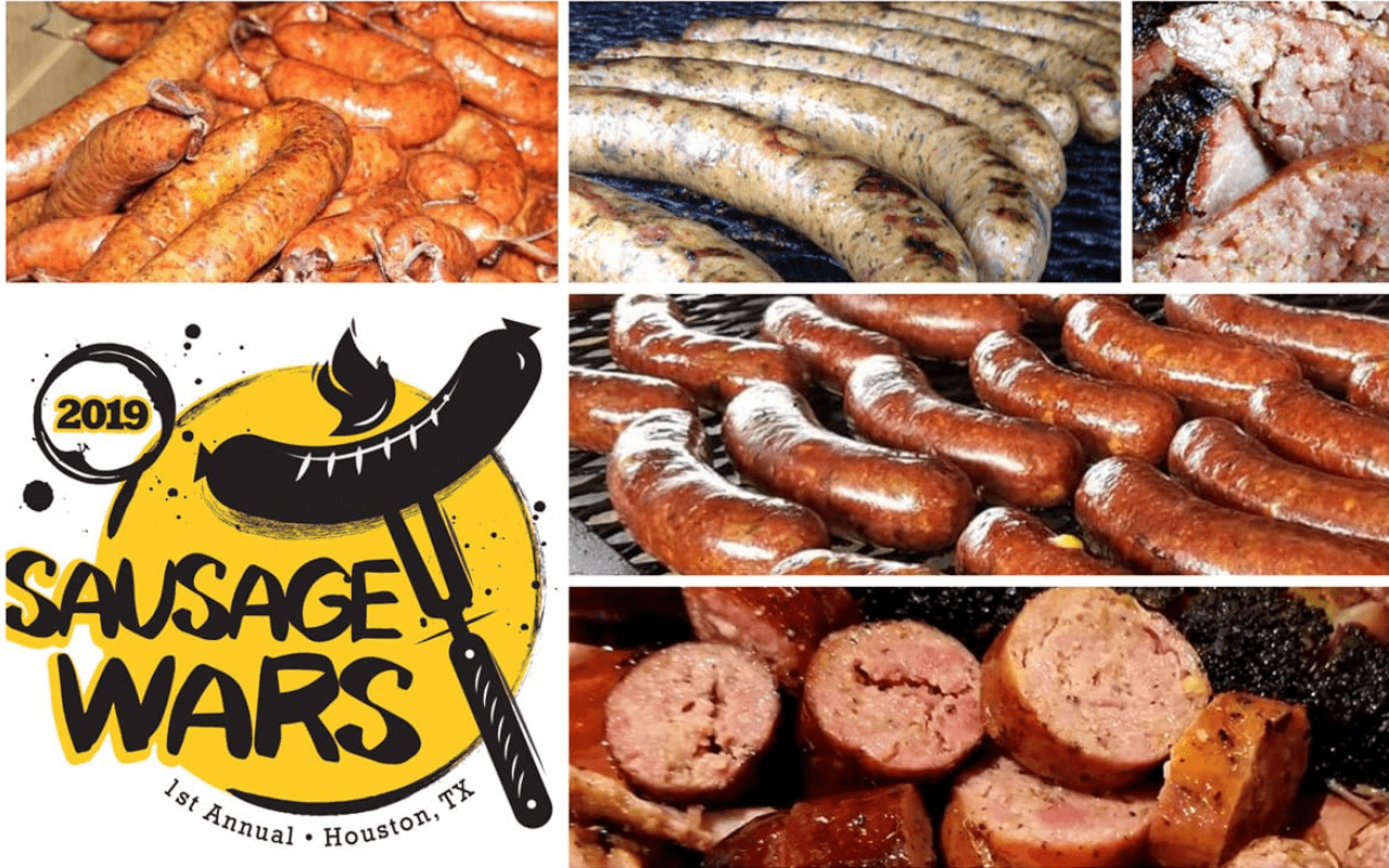 Collage of images with different sausage links and the Sausage Wars logo.