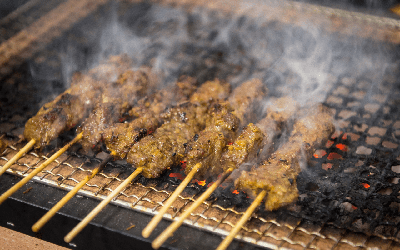 meat skewers with steam