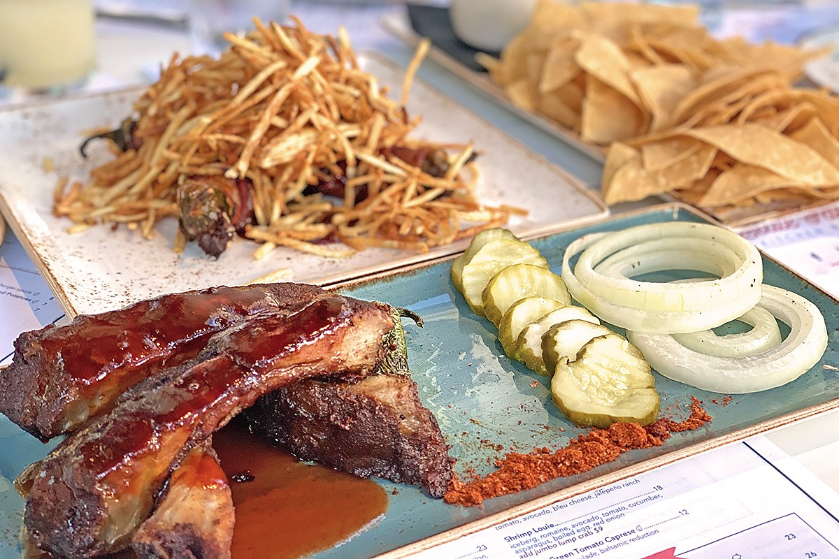Rib platter and appetizers at State Fare