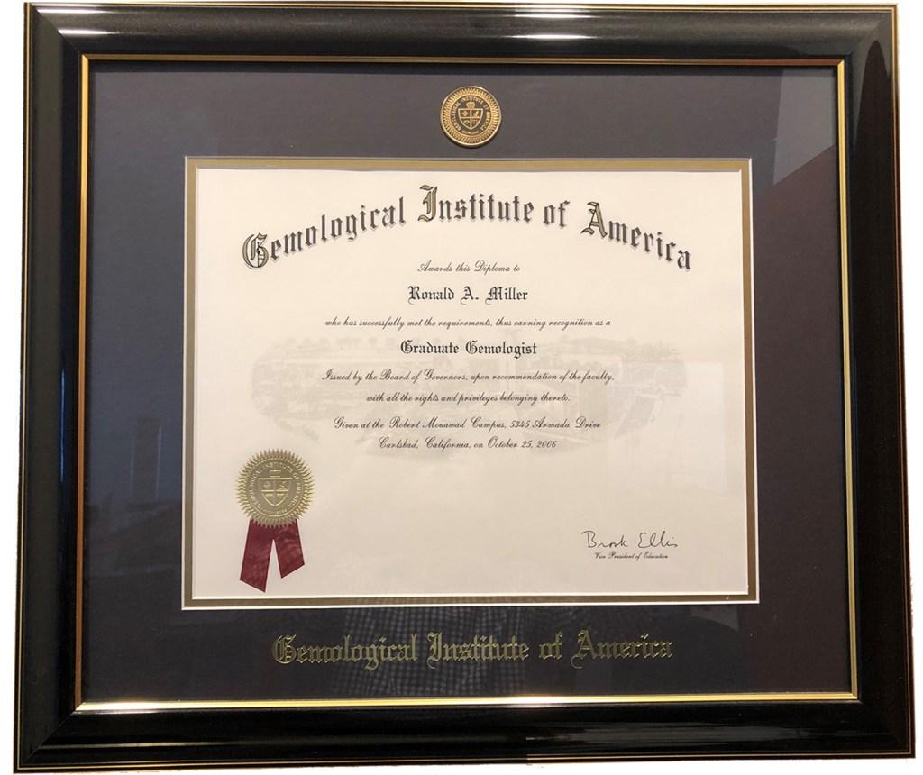 Ronnie Miller Certificates HoustonJewelryAppraisal.com