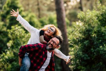 Happy couple in nature