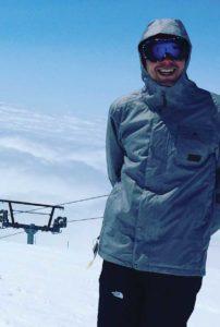 Adam Trussell, contrabassoon, snowboarding at Mount Hood, Oregon.