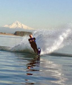 Adam Trussell, contrabasson, waterskiing on the Columbia River.