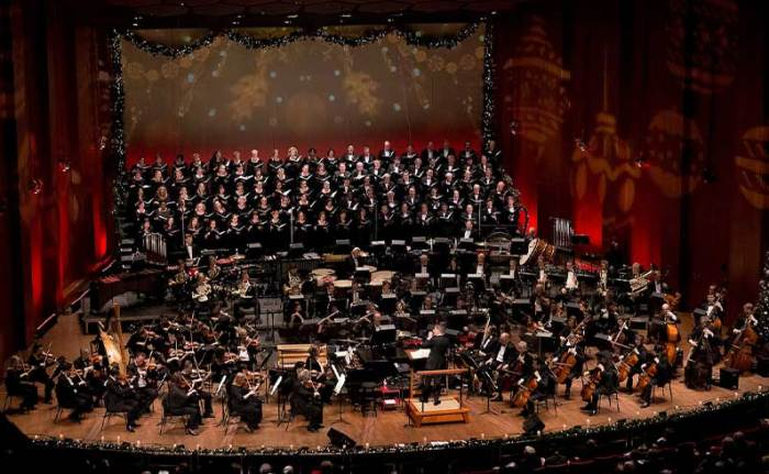 The Houston Symphony and Houston Symphony Chorus perform Very Merry Pops at Jones Hall.
