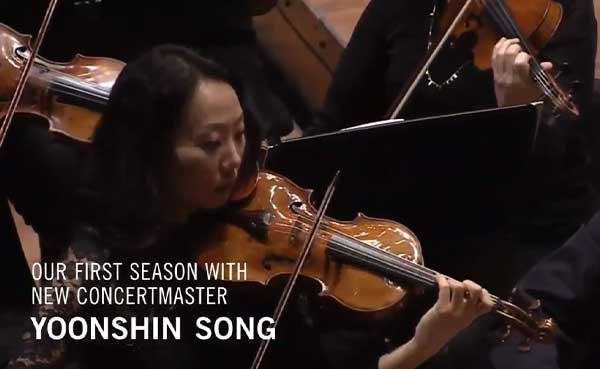 Houston Symphony concertmaster Yoonshin Song plays violin.